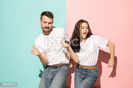 istock A couple of young man and woman dancing hip-hop at studio 994087524