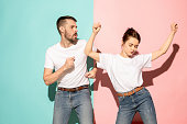 istock A couple of young man and woman dancing hip-hop at studio 994172464