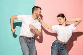 istock A couple of young man and woman dancing hip-hop at studio 994172480