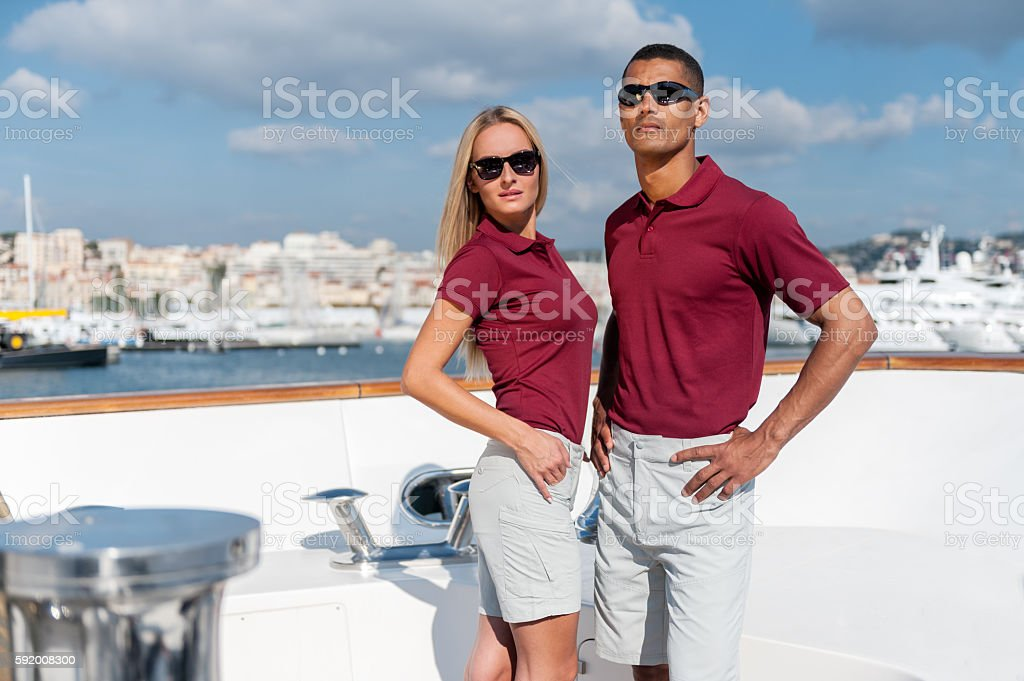 Couple of young models on luxury yacht - Photo