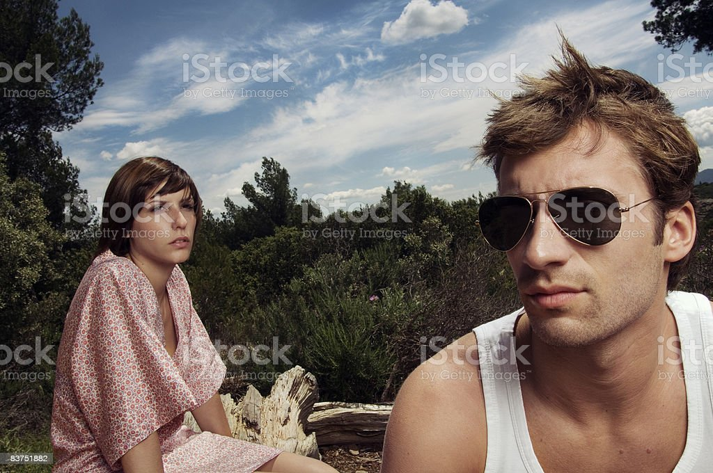 Couple of young people in nature royalty-free stock photo
