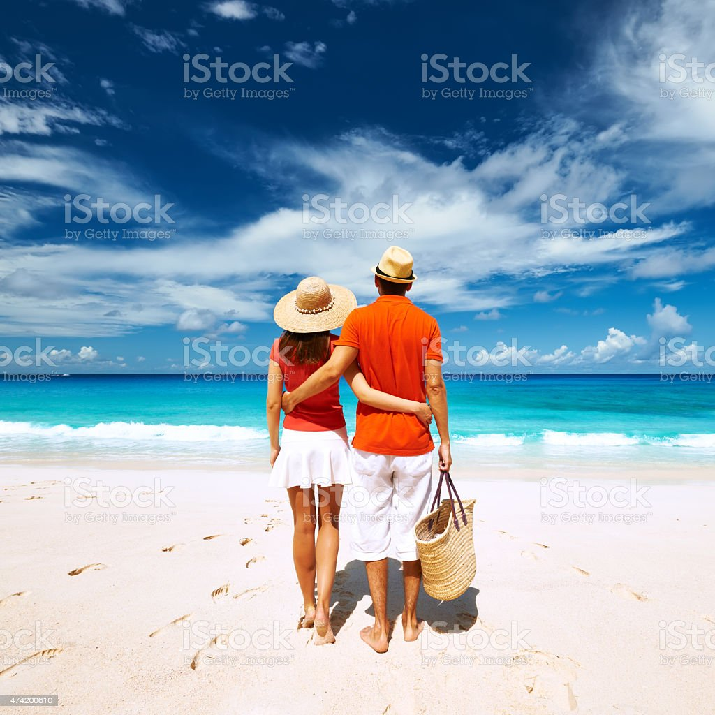 Couple On A Beach At Seychelles Stock Photo Download Image