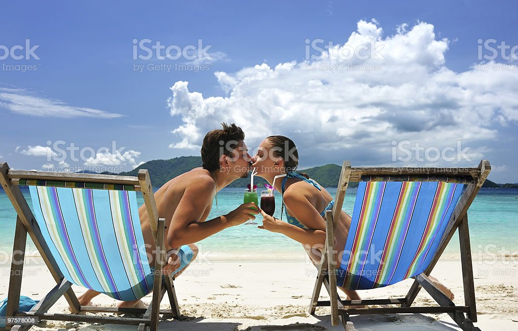 Couple on a beach royalty-free stock photo