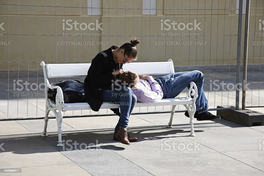Couple on a bench royalty-free stock photo