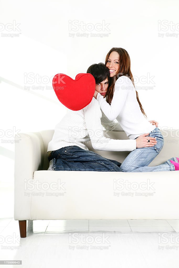 Couple on a couch royalty-free stock photo