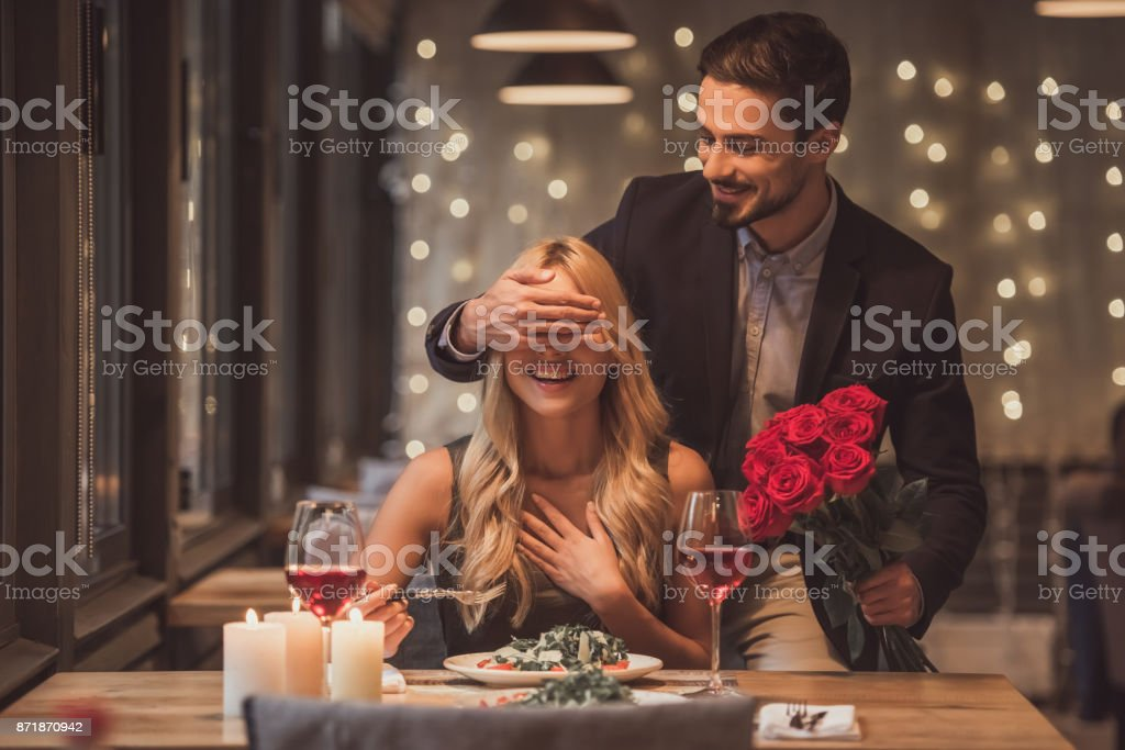 Couple on a date stock photo