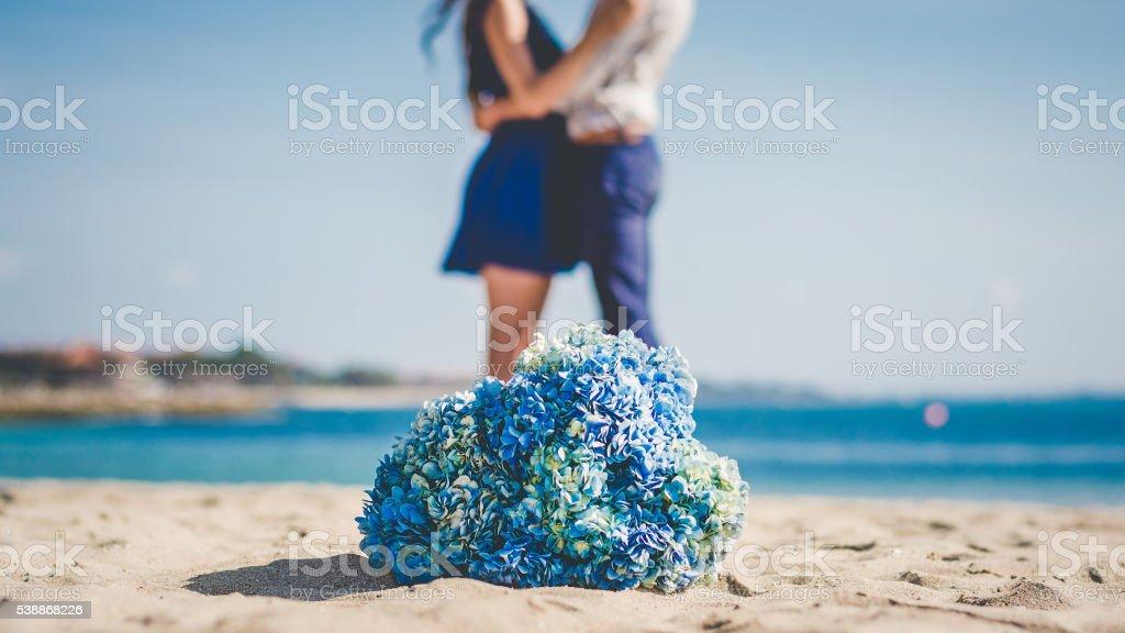 Couple on a honeymoon in Bali stock photo