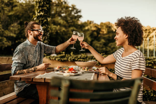 Couple on a luch stock photo