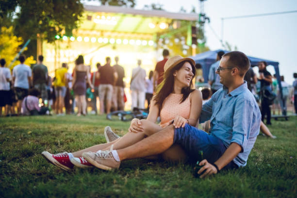 Couple on a music festival stock photo