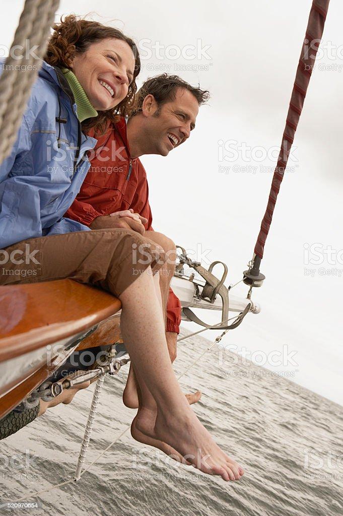 Paar auf einem Segelboot – Foto