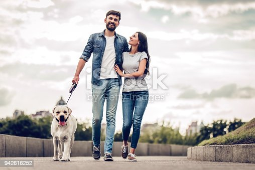 istock Couple on a walk with dog 942616252