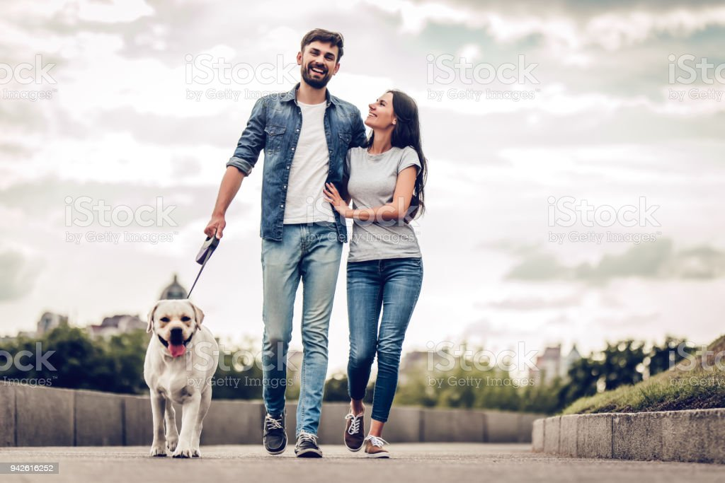 Couple on a walk with dog stock photo