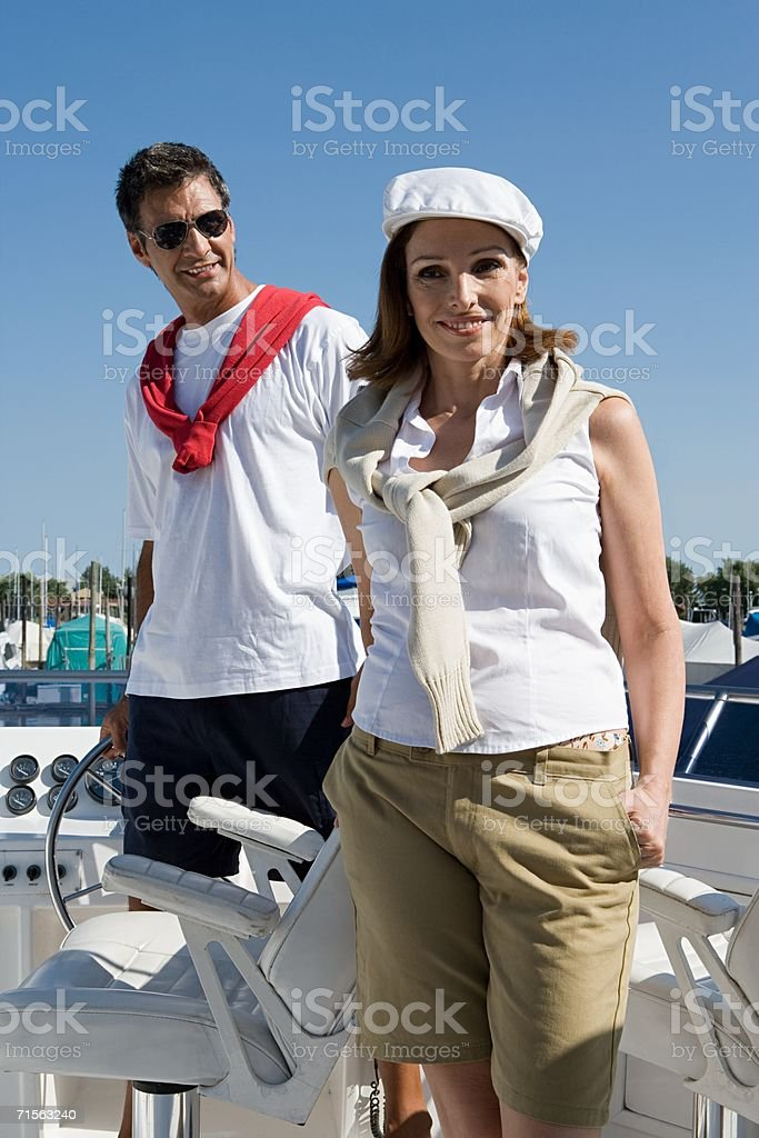 Couple on a yacht royalty-free stock photo