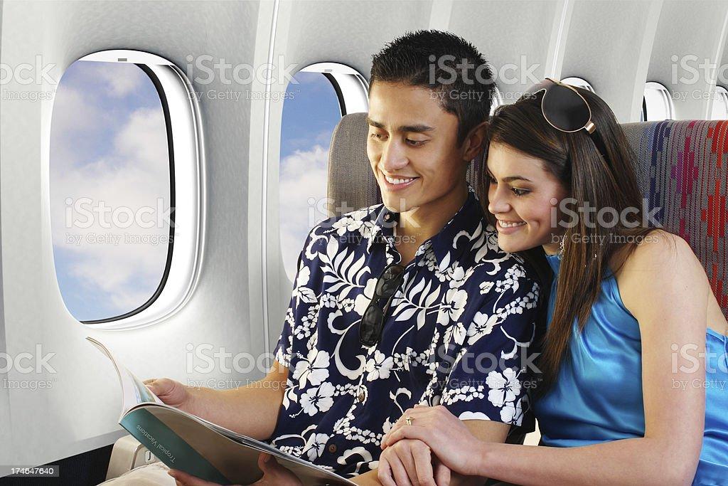 Couple On Airplane royalty-free stock photo
