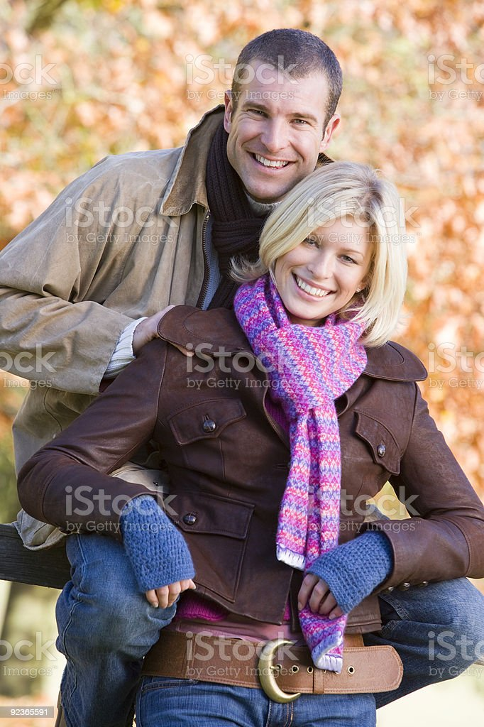Couple on autumn walk royalty-free stock photo