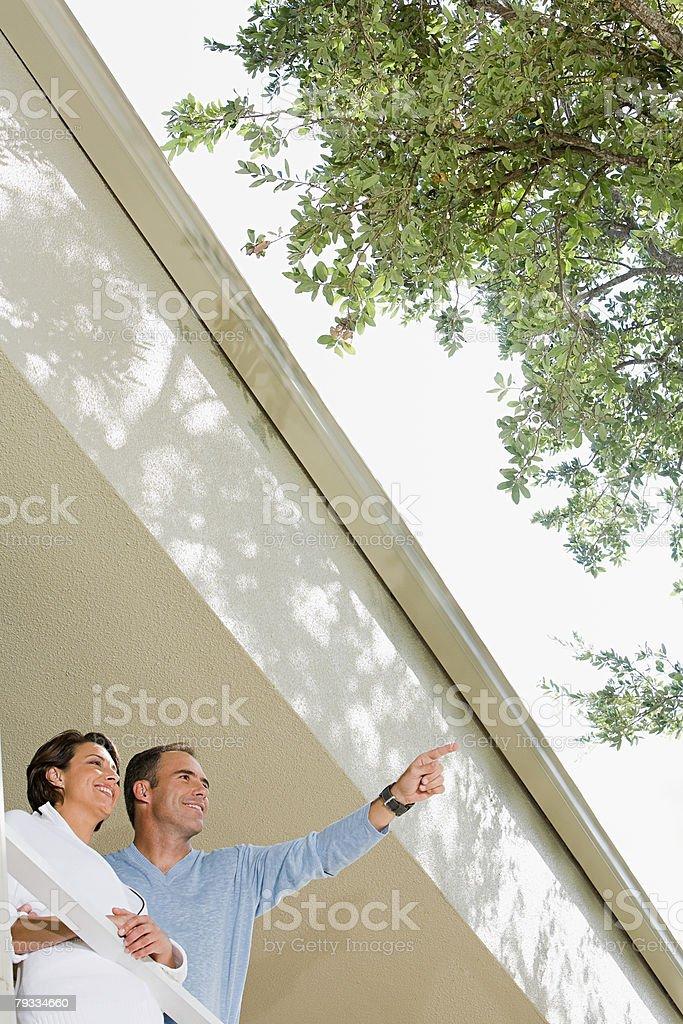Couple on balcony royalty-free stock photo