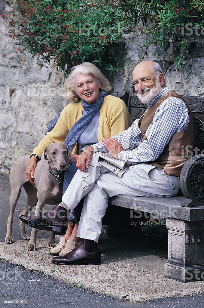Couple on bench royalty-free stock photo