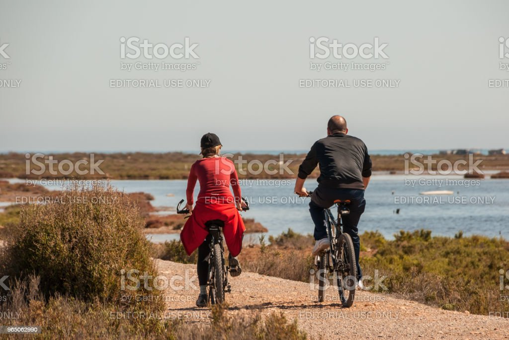 Couple on bicycles by the minor sea in February 2011 royalty-free stock photo