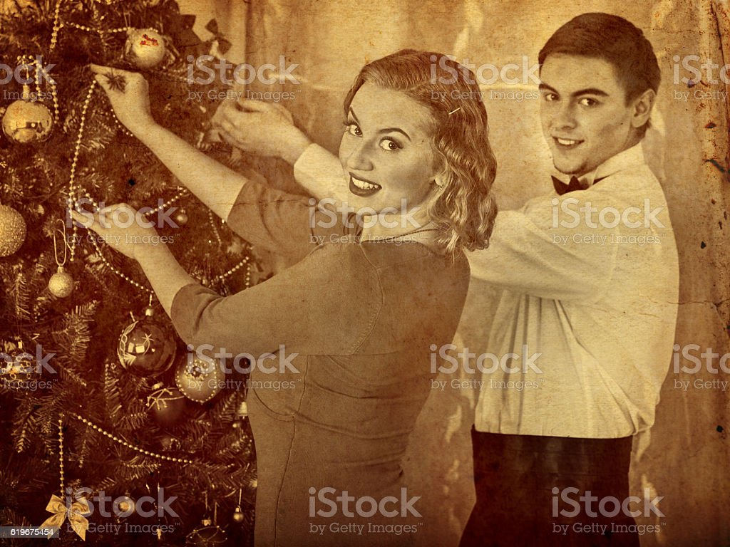 Couple on Christmas party. Black and white retro portrait. stock photo