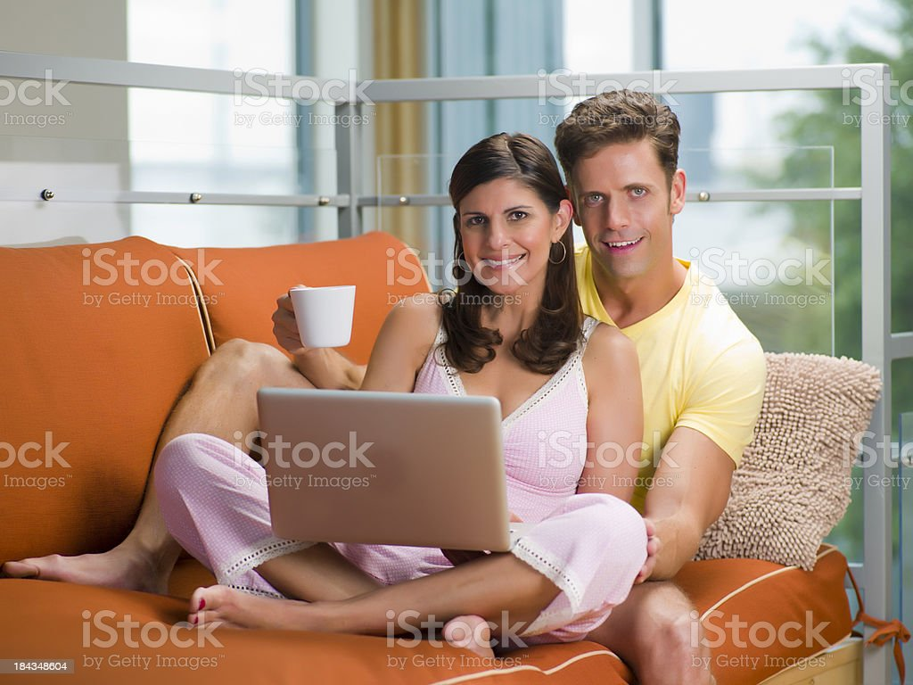 Couple on Couch royalty-free stock photo