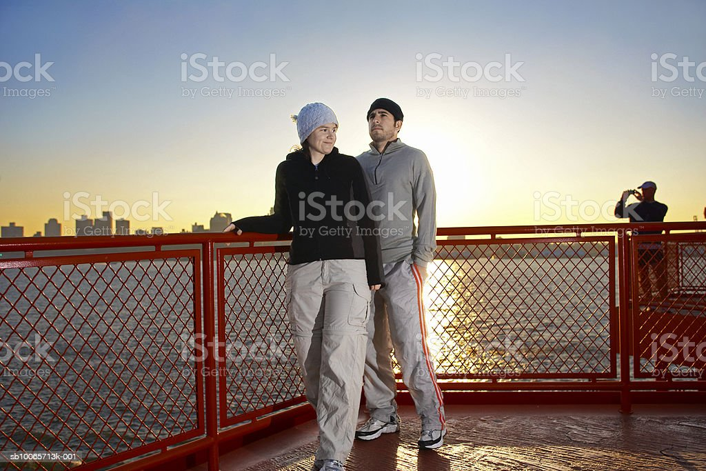 Couple on ferry royalty-free stock photo