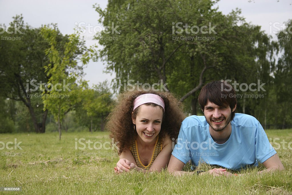 couple on grass royalty-free stock photo