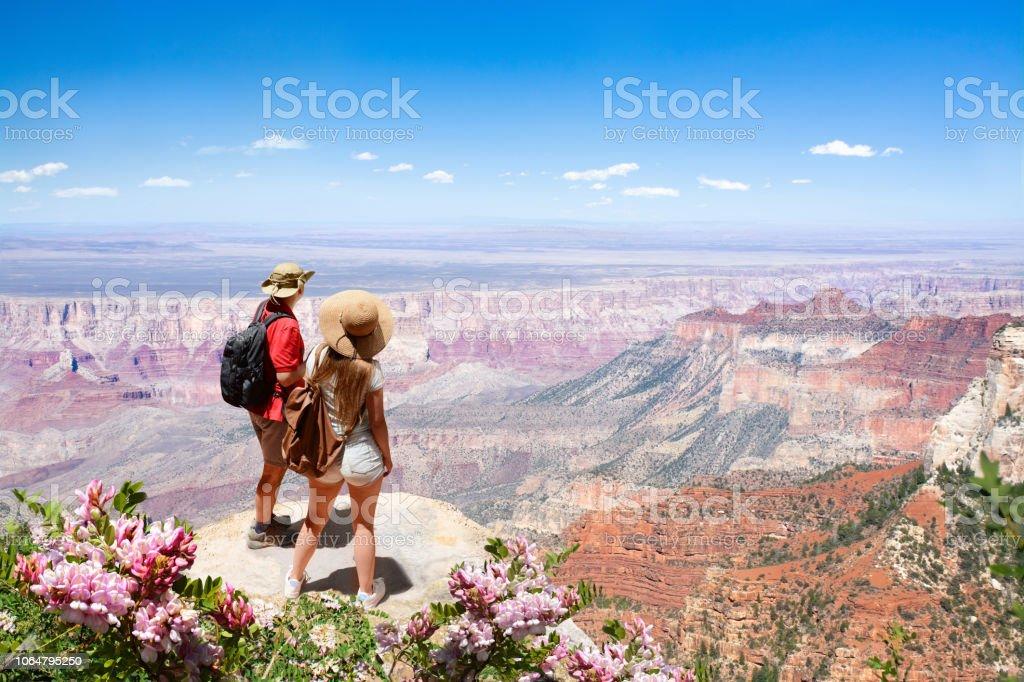 아름 다운 여름 산 풍경 보고 여행 하이킹에 커플 - 로열티 프리 2명 스톡 사진