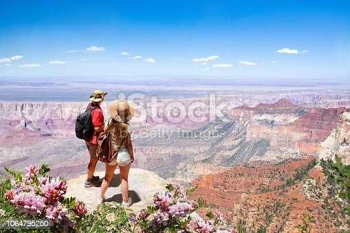 Couple on hiking trip looking at beautiful summer mountain landscape,  Friends  relaxing on mountain. North Rim, Grand Canyon National Park, Arizona,USA.