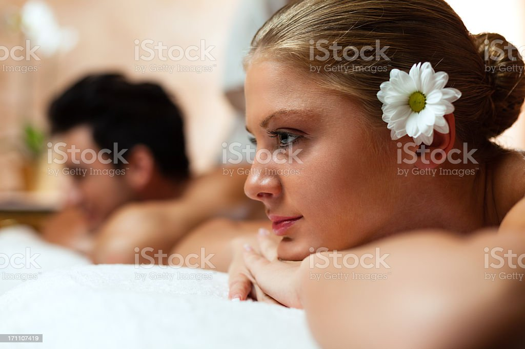 Couple on massage at health spa royalty-free stock photo