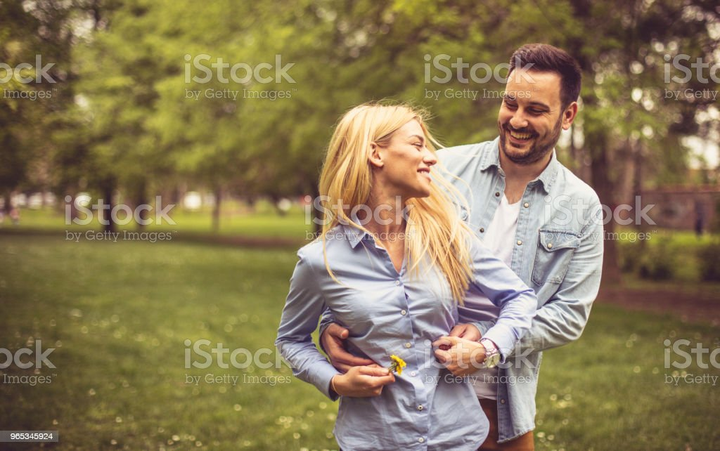Couple on meadow. royalty-free stock photo