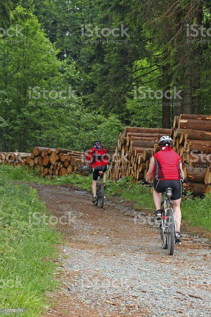 Couple on mountainbikes # 12 royalty-free stock photo