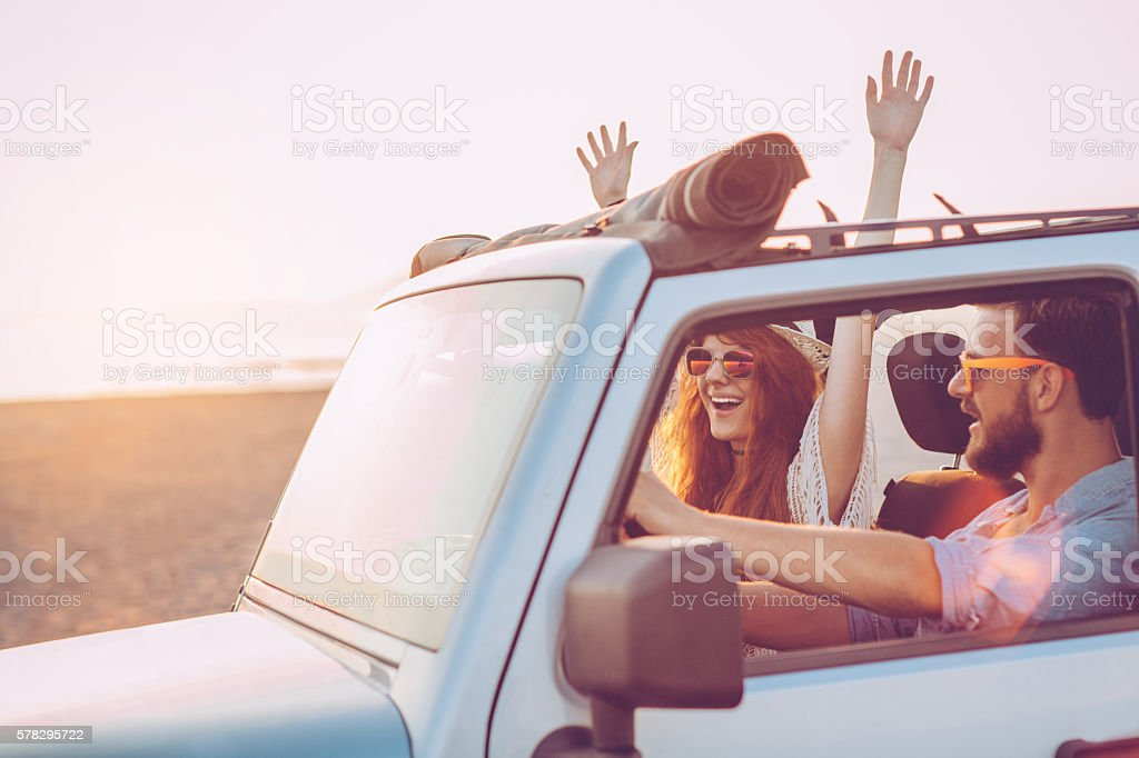 Couple on road trip stock photo