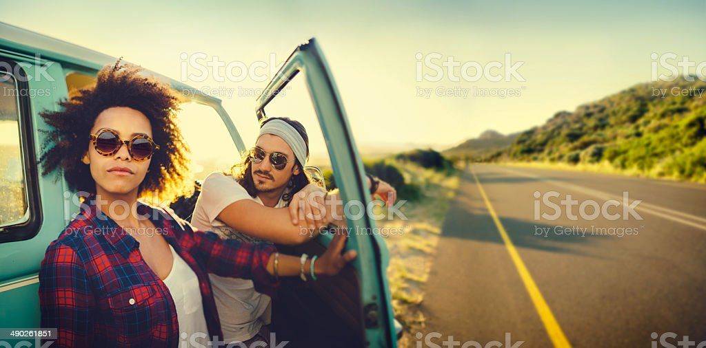 Couple on roadtrip stock photo