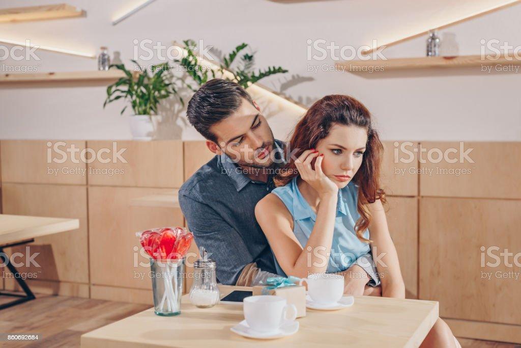 couple on romantic date stock photo