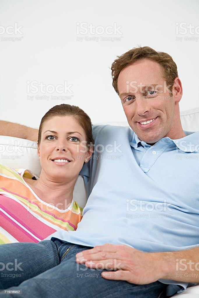 Couple on sofa royalty-free stock photo