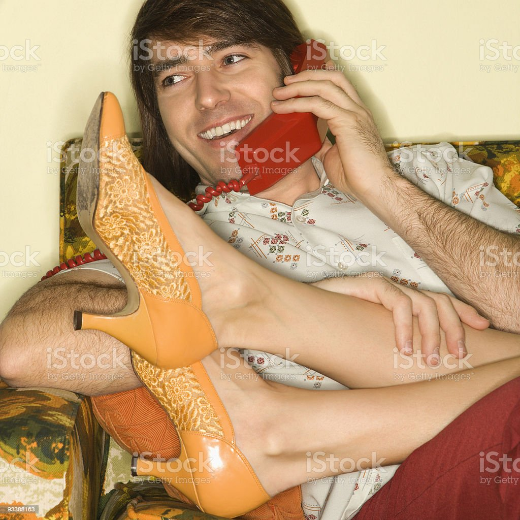 Couple on sofa. royalty-free stock photo