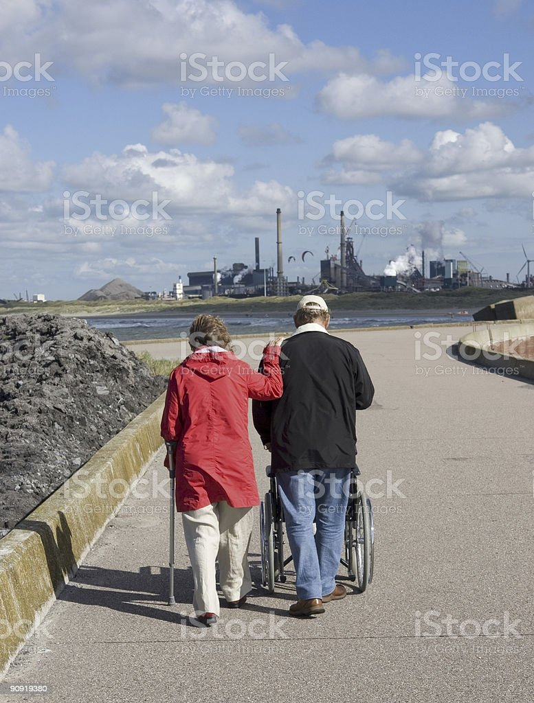 Couple on the pier royalty-free stock photo