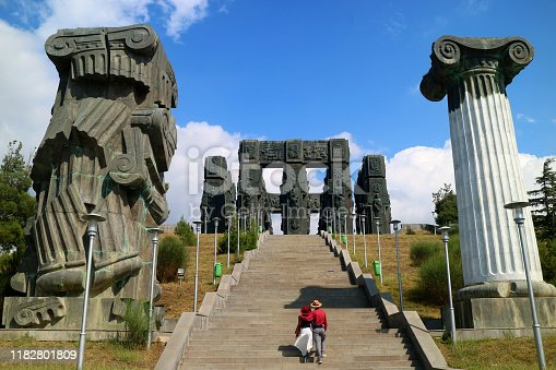 Couple on the Staircase of the Chronicle of Georgia, a Jaw dropping Monument Located on the Hilltop near Tbilisi City, Georgia Country
