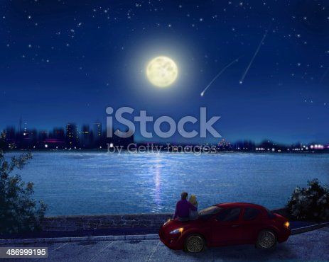 istock Couple on the waterfront of night city 486999195