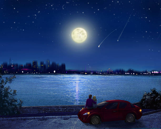 couple on the waterfront of night city - romantic moon stock photos and pictures