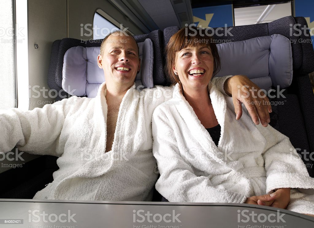 Couple on train royalty-free stock photo