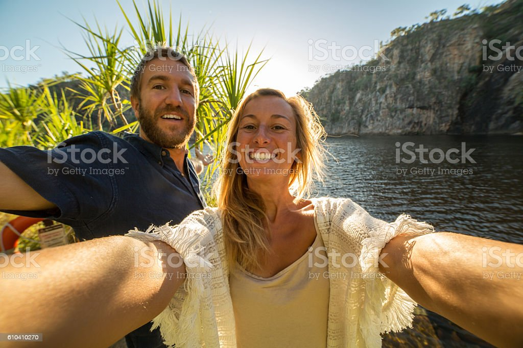 Couple on vacations take selfie portrait stock photo