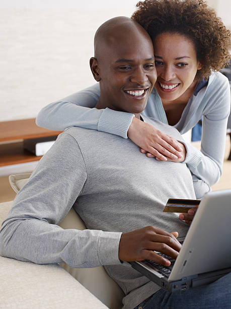 A couple online shopping stock photo