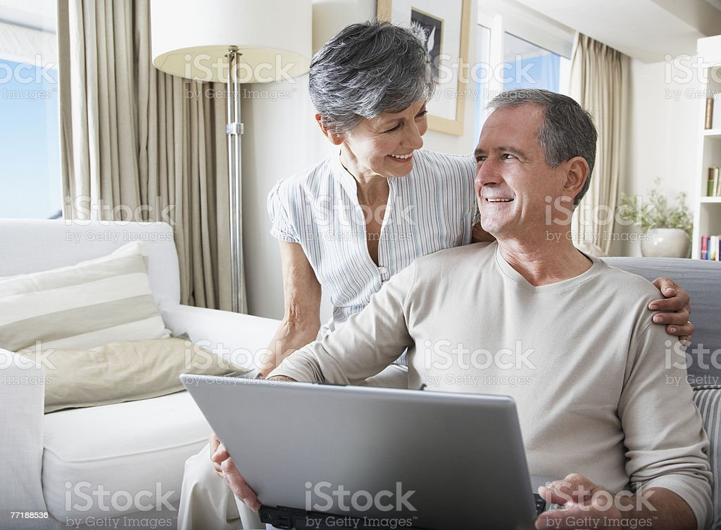 A couple online shopping royalty-free stock photo