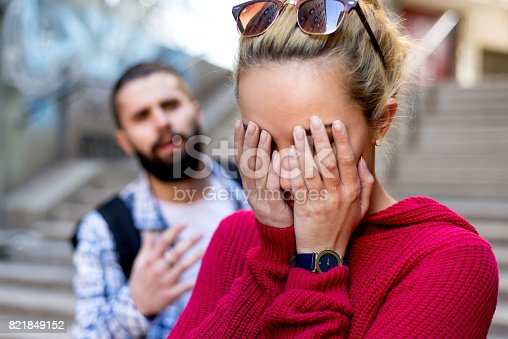istock Couple or marriage angry and sad after argument 821849152