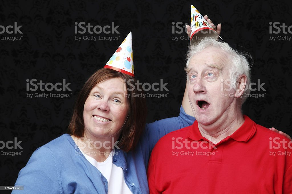 Couple or Siblings Having Fun on a Brithday stock photo
