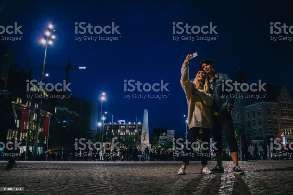 Couple out in the Evening stock photo