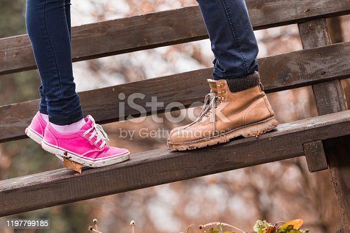 Couple outdoors  enjoying nice autumn / winter time.