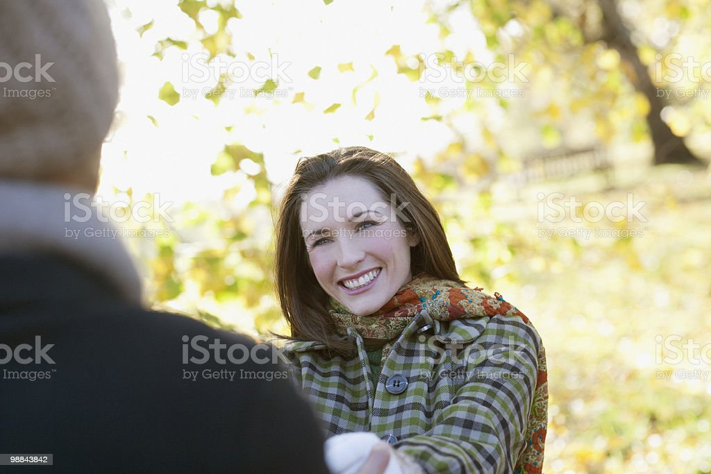 Couple outdoors in autumn royalty-free stock photo