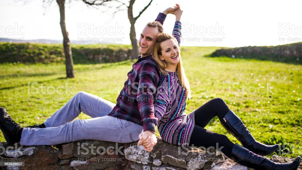 Couple Outdoors Romance Lovers In A Park - Royalty-free Adult Stock Photo